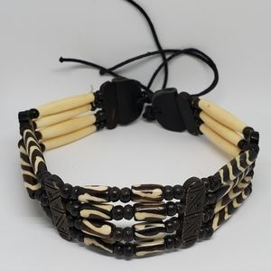 Vintage African Bone Tribal Choker Necklace